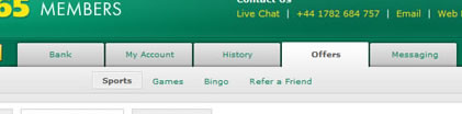 Offers tab at bet365