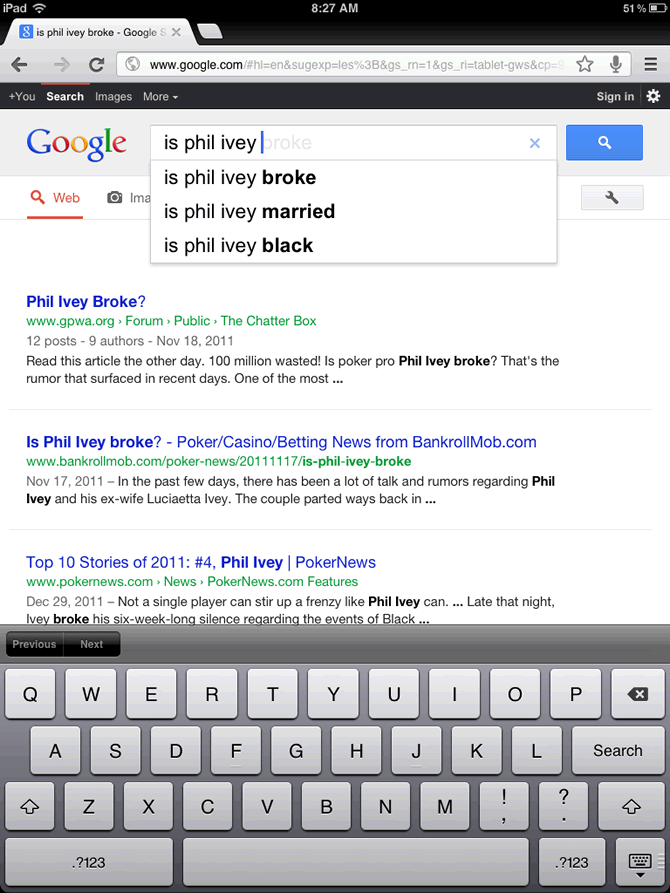 Phil Ivey Google search suggestions