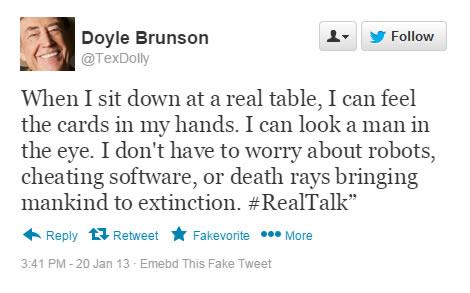 Doyle Brunson Tweet
