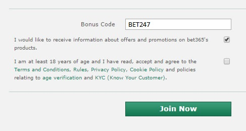 The bet365 bonus code signup field