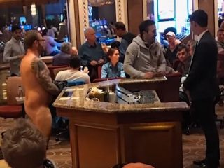 Naked guy at Bellagio a T-1200 from the future