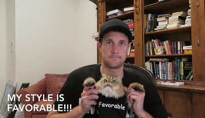 Brad Owen with Cosmo the Poker Cat