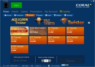 Playing Coral Poker Twister Sit and Gos through the iPoker Network