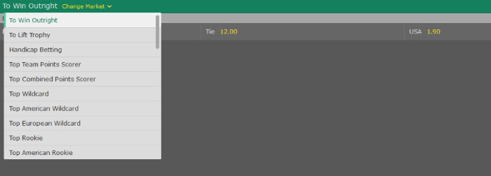 Bet365 Live In Play Ryder Cup Betting Lines
