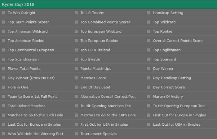 Bet365 Ryder Cup Betting Lines